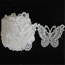 Vintage Butterfly Embroidered Lace Edge Trim Ribbon Appliques DIY Sewing Craft W