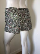 Blaque Label Green Black Multi Neon Tweed Boucle Short Shorts $121 size 2 lined