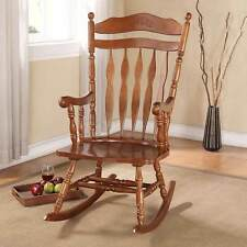 Kloris Collection Transitional Living Room Rocking Chair Wood in Dark Walnut