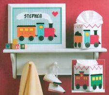WELCOME BABY TRAIN SET TISSUE BOX COVER PLASTIC CANVAS PATTERN INSTRUCTIONS