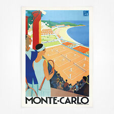 Vintage travel poster - A4 - Monte Carlo Tennis