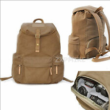 Waterproof Canvas Backpack Rucksack Camera Bag For Canon 6D 7D 70D 1200D