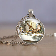 Vintage rabbit Cabochon Silver plated Glass Chain 25mm Pendant Necklace