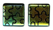 BEAUTIFUL GREEN YELLOW PUZZLE DICHROIC FUSED GLASS CUFF LINKS (216)