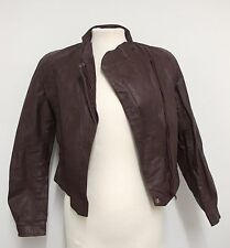 VINTAGE 80s Leather JACKET Shoulder Pads POWER JACKET/Disco Brown S Ladies