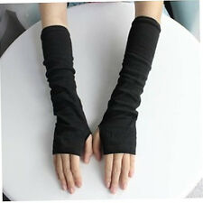 Women's Black Fashion Stretchy Arm Warmers Long Fingerless Gloves Mittens