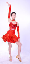 COMPETITION ICE DANCE FIGURE SKATING DRESS Salsa Tango Red w Crystals Adult XL
