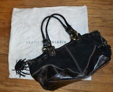 FRANCESCO BIASIA woman handbag satchel Split Leather purse Black EUC