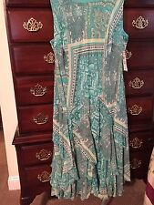 Robbie Bee Woman Plus Blue Paisley Spring Dress Size 24W NWT $84