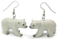 New NORTHERN ROSE Porcelain Earrings POLAR BEAR Figurine Figure Jewelry Wire
