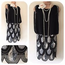 NWT Lace & Beads Embellished Gatsby 20's Beaded Flapper Dress Sequin XS 6 8