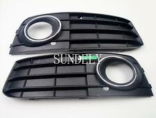 Front Bumper Fog Light Grille Cover For Audi A4 A4L B8 2009-2012 Black 1 Pair