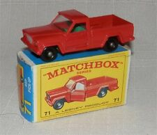 60s.Matchbox.Lesney.71 Jeep Gladiator Pick up.GREEN INTERIOR.Mint in box,Originl