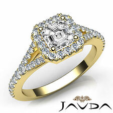 Asscher Diamond Halo Pave Set Engagement Ring GIA F VS1 18k Yellow Gold 1.22Ct