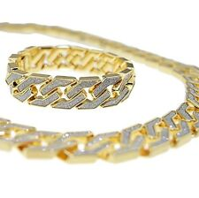 "Sand Blast Cuban Chain Gold Plated Diamond 30""x20MM Necklace + 8.5"" Bracelet Set"