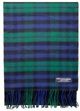 100% CASHMERE Scarf Green Blue Check Plaid Tartan Soft SCOTLAND Wool Women D317