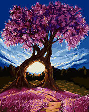 """Paint By Number On Canvas DIY Painting Kit 16""""*20"""" Frameless Purple Tree"""