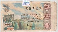 DECIMO DE LOTERIA 5 DE ENERO DE 1962 ( roturas )    ( DL019 )