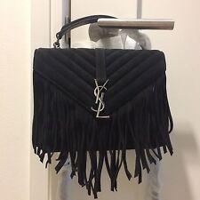 SAINT LAURENT YSL Monogram Black Medium Fringed Suede Shoulder Bag NWT $2450