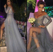 Sexy V Neck Silver Long Chiffon Prom Gowns Appliques Side Slit Evening Dresses