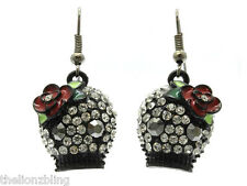 Gothic Day of the Dead Black Skull Earrings with Crystal Bling