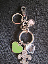 Womens Designer Kathy Van Zeeland Silver Charm Key Chain Ring For Purse NWOT
