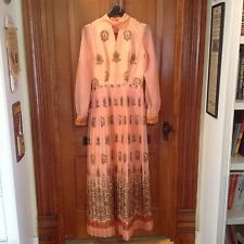 Vintage Alfred Shaheen Dress California Hawaii Sz 10 Peachy Pink Print