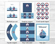 Sail Away Sailboat Nautical Blue Printable Baby Shower Party Package