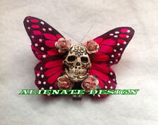 Steampunk burlesque rose crâne cheveux clip zombie fascinator tiki gothique