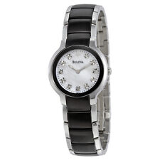 Bulova 98P127 Women's Diamond Black & Silver Ion-Plated Watch