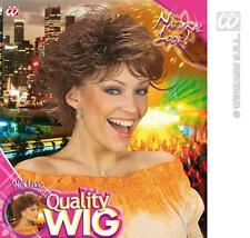 Ladies Brown Spikey Wig Wet Look 80'S Disco Diva Fancy Dress