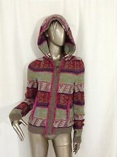 Moth Anthropologie Muliti Color Hoodie Cotton Blend Zip Up Sweater Top M