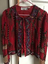 Laurence Kazar  Red Large Top Women EUC  Sequence Valentines Day  Jacket Silk