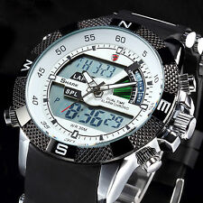 SHARK Mens Fashion LCD Digital Black Rubber Date Day Quartz Sport Wrist Watch