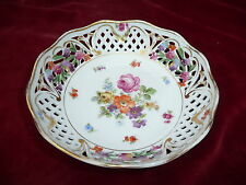 SUPERB VINTAGE DRESDEN PORCELAIN CHINA PIERCED BOWL