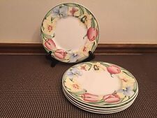 "Villeroy & Boch ""CANARI"" Bone China  ~ Set of 5 ~ Salad Plates ~  8 1/2"""
