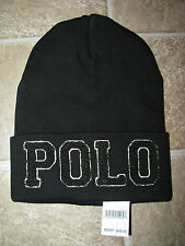 Men's $45. POLO-RALPH LAUREN Black Knit Cotton Skull/ Beenie POLO Hat