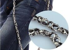 31'' Fashion Chrome Biker Trucker Keychain Key Jean Wallet Chain Punk Skull