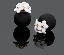 CLASSY LADIES GIFT DESIGNER DOUBLE STUD EARINGS WHITE DAISY FLOWERS BLACK MATT