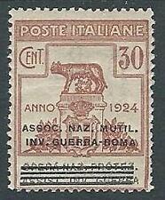 1924 REGNO PARASTATALI INV. GUERRA ROMA 30 CENT MH * - M39-9