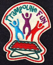 """TRAMPOLINE FUN"" IRON ON PATCH -  Iron On Embroidered Applique/Sport, Games"