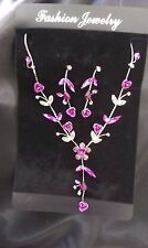 Purple Delicate Ladies Fashion/Costume Jewellery Set Necklace Earrings  - New