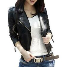 Womens Biker Jacket PU Faux Leather Effect Zipped Cropped Autumn Winter Black