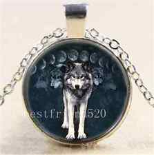 Wolf Moon Photo Cabochon Glass Tibet Silver Chain Pendant  Necklace#1468