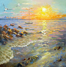 """Sunset - modern art, oil painting on canvas by Dmitry Spiros. Size: 24""""x24"""""""