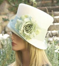 Church Hat Wedding hat Derby hat cream straw hat Aqua Hat Formal Hat Summer hat