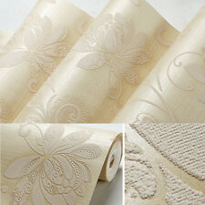 10m TV Sofa Background 3 Layer Non-woven 3D Embossed Florals Wall Paper UK Ship