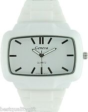 NEW GENEVA WHITE SILICONE BAND AND RECTANGLE DIAL MEN'S WATCH