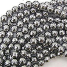 "8mm hematite round beads 16"" strand silver"