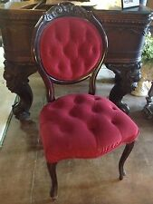 Carved  Dark Wood Parlor Chair with Red Velour
